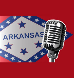 Arkansas flag and microphone vector