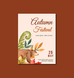 Autumn season poster layout design with leaves vector