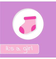 Baby girl sock shower card vector