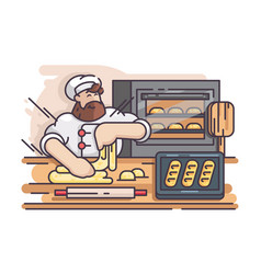 Baker kneads and cooking dough vector