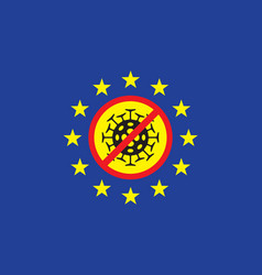 Banner on theme coronavirus with eu flag vector