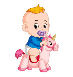 Baplay with unicorn toy vector