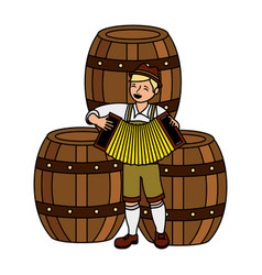 bavarian man with accordion barrels vector image