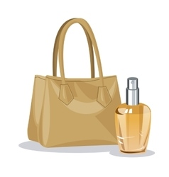 Beige purse and perfume bottle wo vector