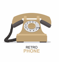 beige vintage telephone isolated on white vector image