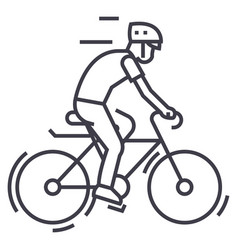 Bicyclingbycicle man line icon sign vector