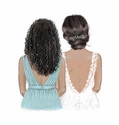 black bride and bridesmaid hand drawn vector image