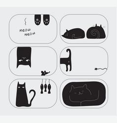 black cute cat character drawn set vector image