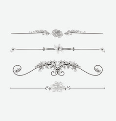 Black floral dividers with flowers and vector