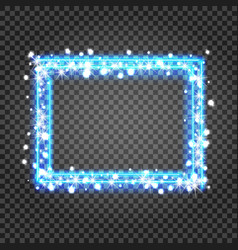 blue frame with lights effects shining vector image
