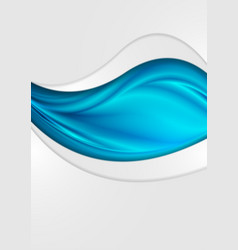 blue smooth waves abstract corporate flyer design vector image