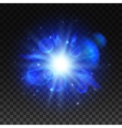 Blue star light space burst flash vector