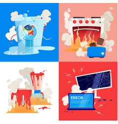 Broken household appliances gadgets flat icon set vector