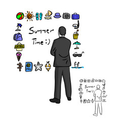 businessman looking at summer icon set vector image