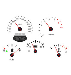 car dashboard scales fuel gauge speedometer vector image