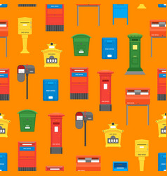cartoon color mail box seamless pattern background vector image