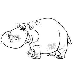 Cartoon hippopotamus animal character coloring vector