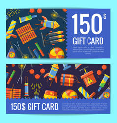 Cartoon pyrotechnics discount or gift card vector