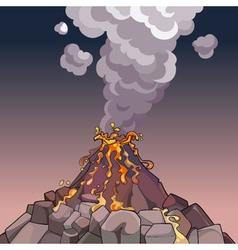 Cartoon volcano spewing lava and smoke vector