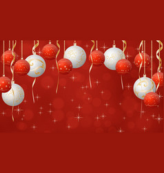 christmas balls background red and golden colors vector image
