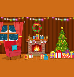 christmas interior of the living room vector image