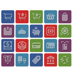 collection rounded square dotted icons finance vector image