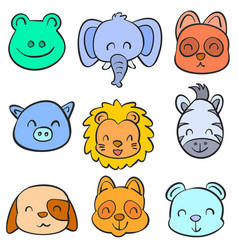 collection stock animal hand draw doodles vector image