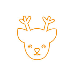 color line reindeer head decoration to christmas vector image