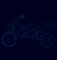 contour quad blue lines on a dark vector image