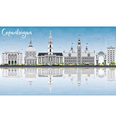 Copenhagen Skyline with Gray Landmarks vector image