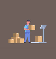 courier man in uniform putting parcel box on vector image