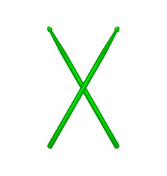 Crossed pair of green wooden drumsticks vector