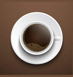 Cup of coffee on the table top view vector