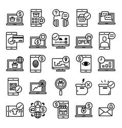 E-commerce line icon set on white background vector