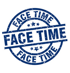 Face time blue round grunge stamp vector