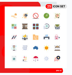 Flat color pack 25 universal symbols mark vector