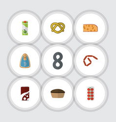 Flat icon meal set of fizzy drink cookie cheddar vector
