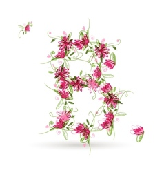 Floral letter B for your design vector image