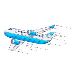 flying plane passenger airliner isolated over vector image