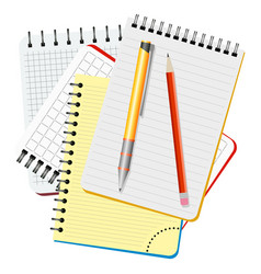 four notebooks yellow pen and red pencil vector image