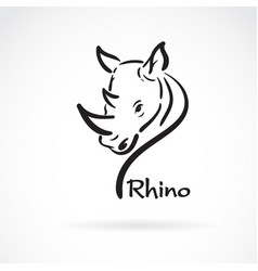 freehand rhino head painting on white background vector image