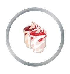 Frozen yogurt with syrup in cups icon in cartoon vector