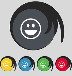 funny Face icon sign Symbol on five colored vector image