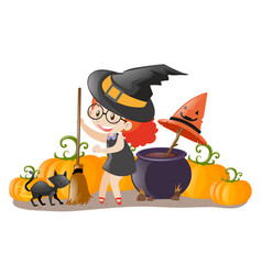 girl dressed up in witch costume vector image