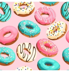 Glazed donuts seamless vector image