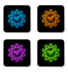 glowing neon time management icon isolated on vector image