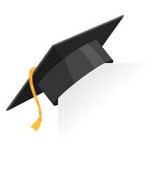 graduation cap or mortar board on paper corner vector image