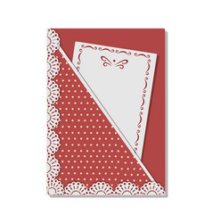 greeting card decorated with lace and stitch on vector image