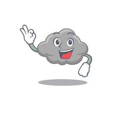 Grey cloud mascot design style with an okay vector