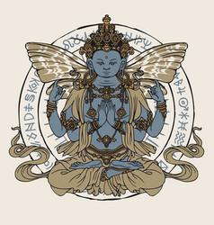 Hand-drawn winged buddha meditating in lotus pose vector